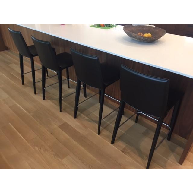 Image of Black Leather Bottega Counter Stools - Set of 4
