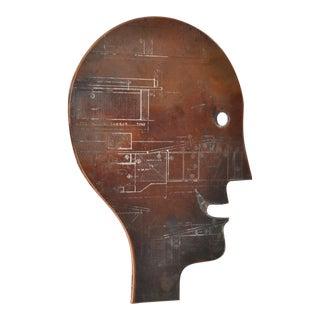 Sculptural Engraved Plate Copper Head