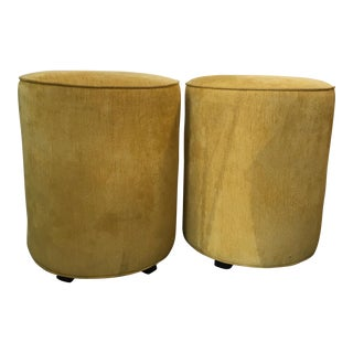 Round Fabric Covered Stools - A Pair