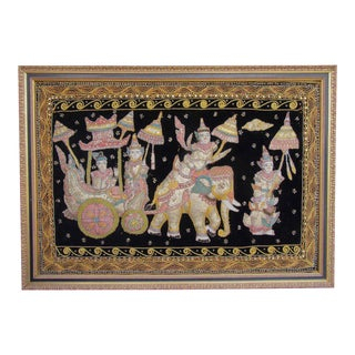Beaded & Textile Elephant Tapestry