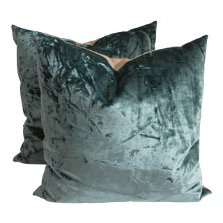Contemporary Emerald Green Velvet Pillows - A Pair