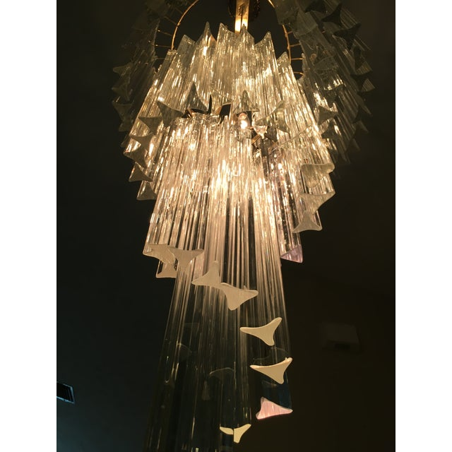 Image of Vintage Spiral Glass Chandelier with Tri-Points