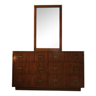 Dixie Mid-Century Campaign Dresser With Mirror