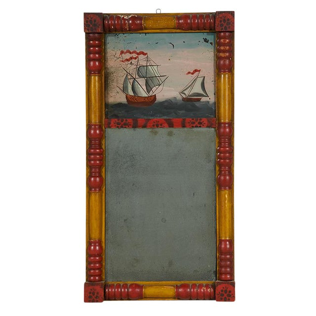 Image of Églomisé Mirror with Sailing Vessels