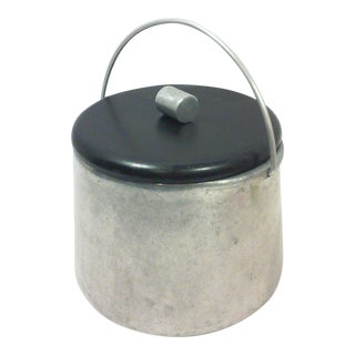 Industrial Machine Age Aluminum and Bakelite Ice Bucket