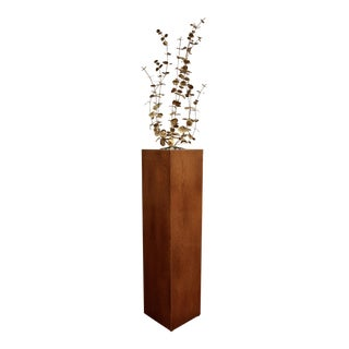 C Jere-Style Brutalist Brass Eucalyptus Sculpture on Oak Pedestal