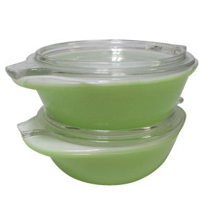 Individual Pyrex Casserole Dishes in Lime - A Pair