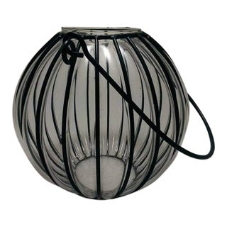 Caged Bubble Glass & Wrought Iron Lantern Hanging Basket