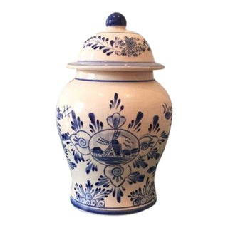 Hand Painted Delft Blue & White Ginger Jar