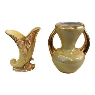Vintage Yellow Luster Glazed Ceramic Vases - A Pair