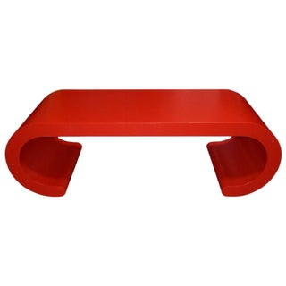 Red Lacquer Scroll Coffee Table