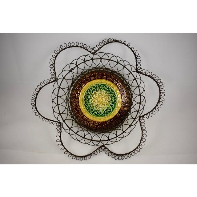 German Majolica & Looped Wire Basket - Image 2 of 11