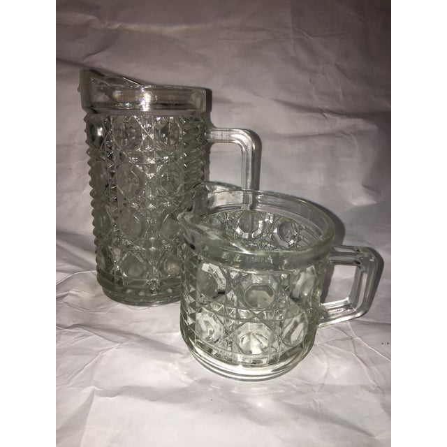 Image of Antique Hobnail Glass Pitcher & Creamer - A Pair