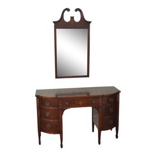 Federal Style 1940s Mahogany Inlaid Vanity w/ Mirror