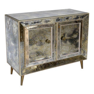 Mirror Clad Cabinet with Brass Legs