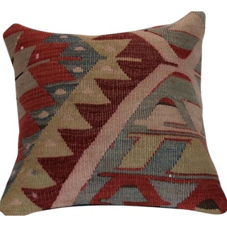 Vintage Handmade Boho Kilim Wool Pillow