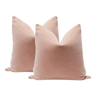 "22"" Blush Mohair Velvet Pillows - A Pair"