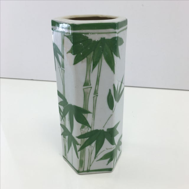 Image of Vintage Hexagon Bamboo Design Vase
