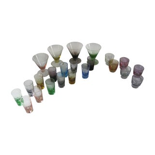 Vintage Multi-Colored Cocktail Glasses - 23 Pieces