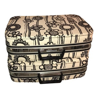 Vintage Samsonite Fashionaire Marimekko Modern Suitcases Black & White Flowers - A Pair