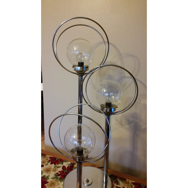 Mid Century 3 Way Chrome Lamp with Clear Bulbs - Image 3 of 6