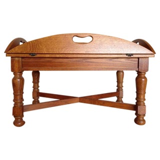 Antique Carved Walnut Butler's Tray Table