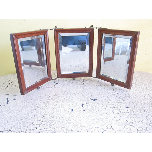 Victorian Antique Tri-Fold Wooden Travel Mirror - Image 4 of 11