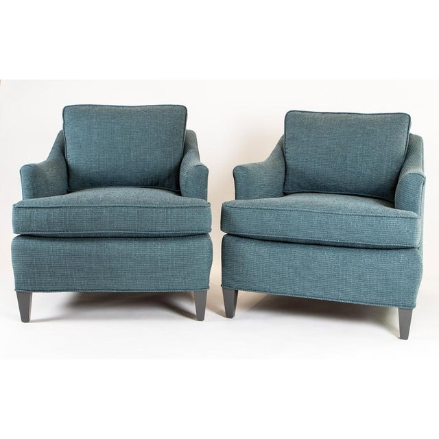 Teal Woven Armchairs - Pair - Image 2 of 10
