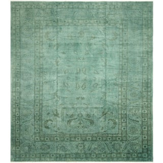 """Overdyed Color Reform Merrie Teal Wool Rug - 12'6"""" x 14'10"""""""
