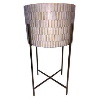 Round Inlaid Bone/Brass Drum Table