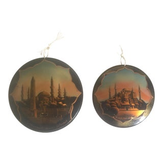 Vintage Turkish Hand Painted Copper Enamel Istanbul Wall Medallions- Set of 2