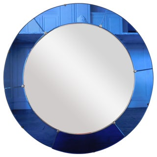Art Deco Round Blue Mirror
