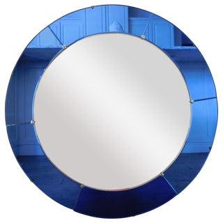 Art Deco Round Blue Mirror