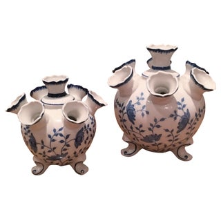Blue and White Tulipiere Vases - A Pair