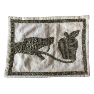 Jonathan Adler Beaded Snake& Apple Pillow