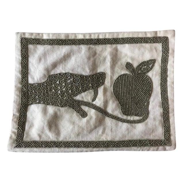Jonathan Adler Beaded Snake& Apple Pillow - Image 1 of 5