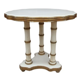 Hollywood Regency Italian Trefoil Faux Bamboo Side Table
