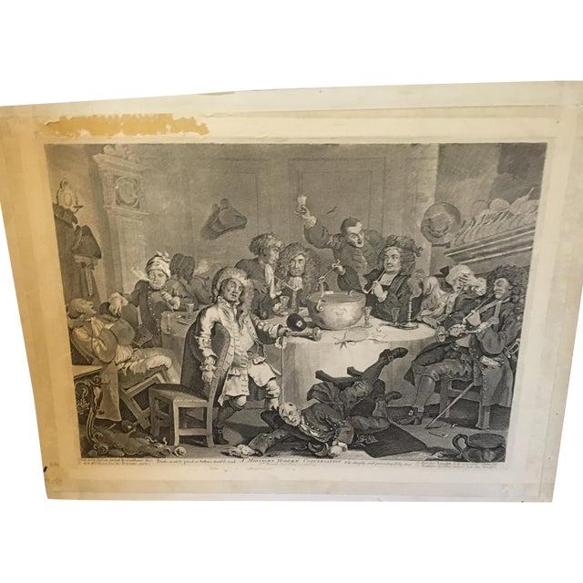1804 Hogarth Etching Midnight Modern Conversation - Image 1 of 8