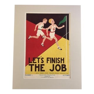 "Vintage 1930's ""Let's Finish the Job"" Classroom Poster"