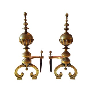 Massive Neoclassical Brass Andirons - A Pair