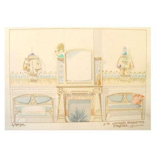 Vintage French Decorator Sheet Interior/Fireplace
