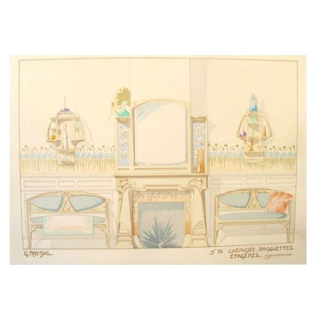 Vintage French Decorator Sheet Interior/Fireplace - Image 1 of 3