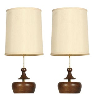 Modeline Turned Wood & Brass Table Lamps - a Pair