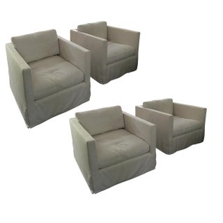 Restoration Hardware Shelter Arm Swivel Chairs - Set of 4