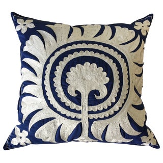 Vintage Blue & White Embroidered Pillow