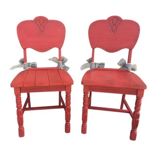 Vintage Red Farmhouse Chairs - Pair