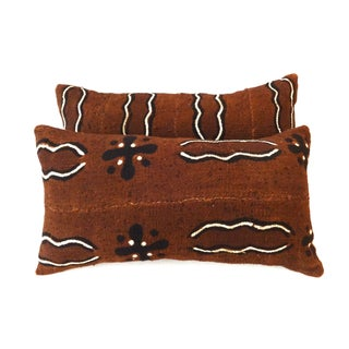 African Mud Cloth Bogolan Lumbar Pillows - A Pair