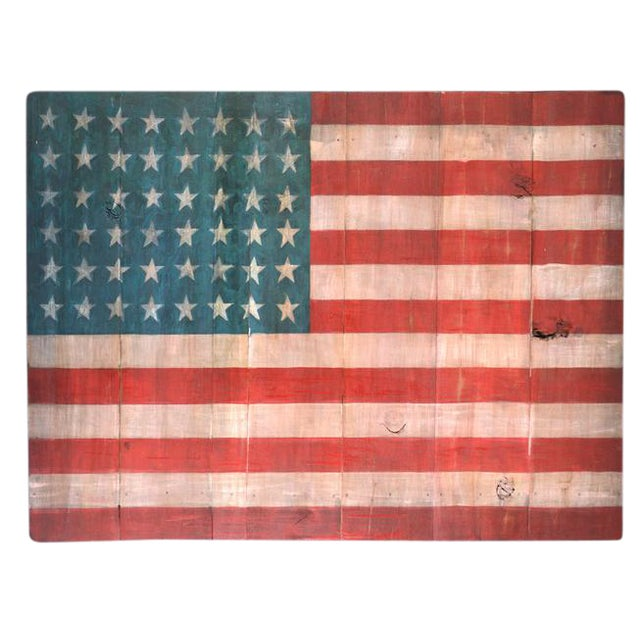 Image of Rustic Wood Painted American Flag