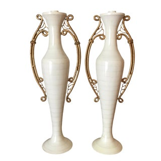 Ivory Enameled Candle Holders - A Pair