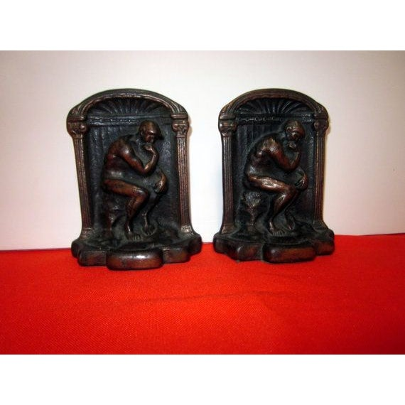 The thinker antique bronze brass bookends chairish - Antique brass bookends ...